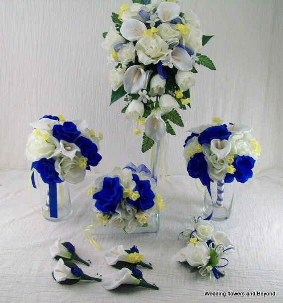 BLue aND YeLLoW WeDDiNG FLoWeRS MaDe To by VanCaronCollection, $174.95