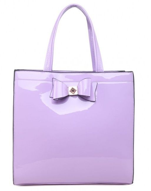 Purple Patent Shopper Bag with Bow - Extra Large Size - The Handbag Hut - The latest handbag trends at prices you can't resist!