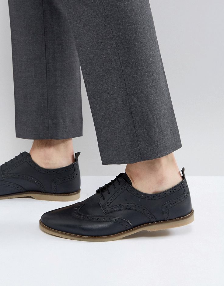 ASOS Casual Brogue Shoes In Navy Leather With Gum Sole - Navy