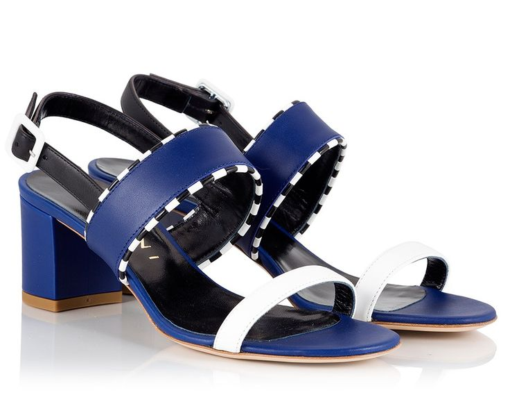 Vicini Colorblock navy leather mid block heel sandals  #ViciniShoes #GiuseppeZanotti #Sandals