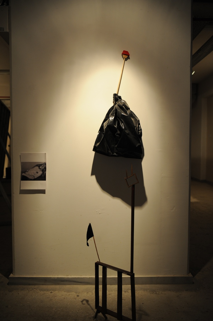 """Maiakovski, shortly after his suicide  Kostis Velonis  Maiakovski, shortly after his suicide, 2007-08  cloth, wood, acrylic, printing, plastic  dimensions variable  Courtesy of the artist  Installation view, 2nd Athens Biennale 2009 """"Heaven"""""""