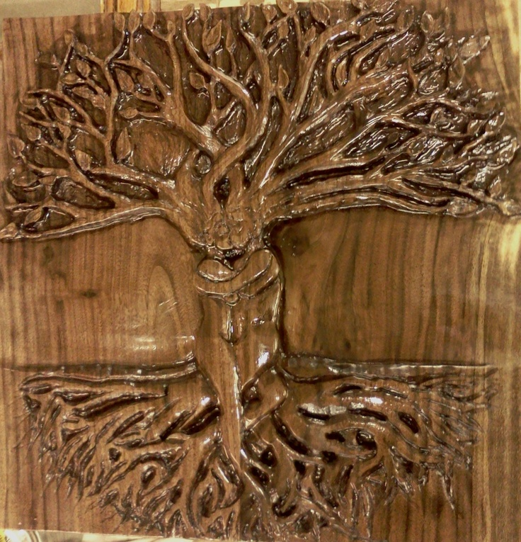 Claro walnut tree of life sold wood carving by