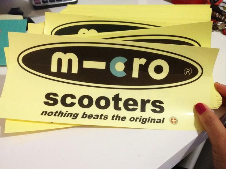 scooter stickers for Micro scooters. Clear stickers material with 2 cmyk colour offset printing!