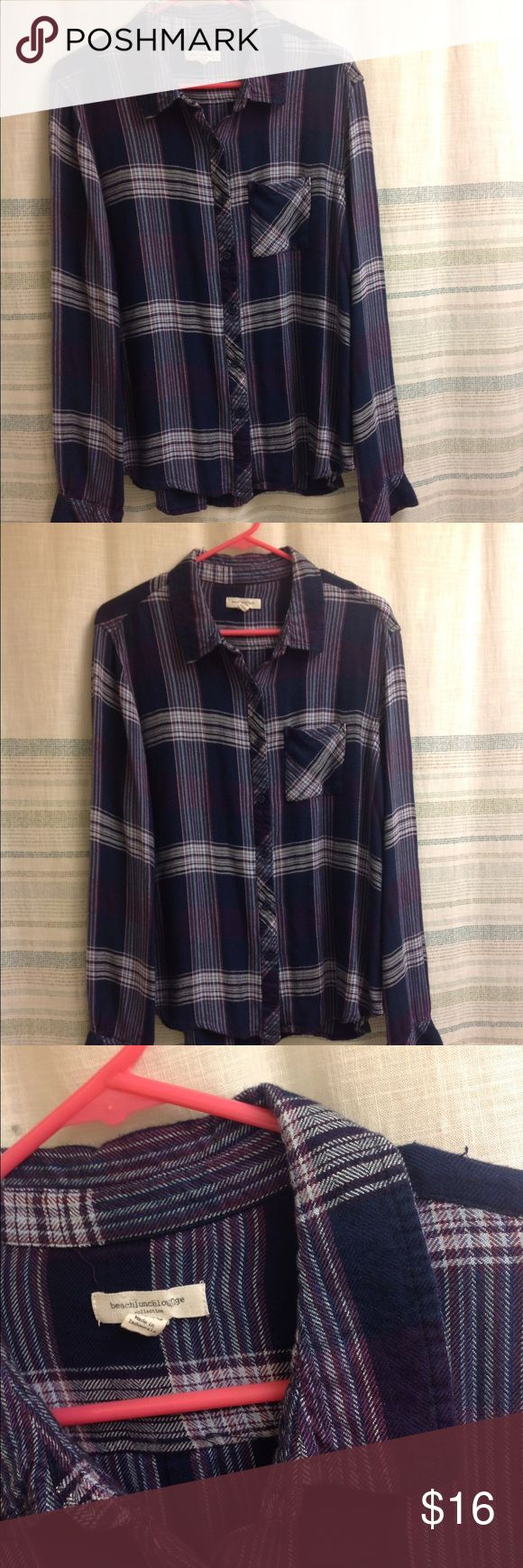 Beach lunch lounge flannel fleece plaid XL Beach lunch lounge flannel fleece plaid button down top shirt XL ! SUPER SOFT beach lounge lunch Tops Button Down Shirts