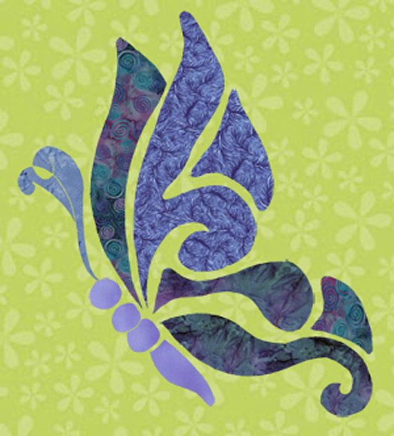 Hand Applique Butterfly Quilt   Freestyle Butterfly FAbric Applique Template
