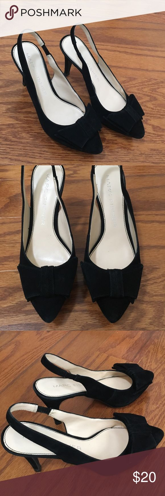 Marc Fisher 3 inch black heels! 5 1/2 Marc Fisher 5 1/2 black suede heels with bow detailing! Pointed toe Marc Fisher Shoes Heels