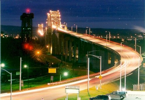 The international bridge connecting America and Canada at the two sister cities....Sault Ste. Marie, MI and Sault Ste. Marie, Ontario.