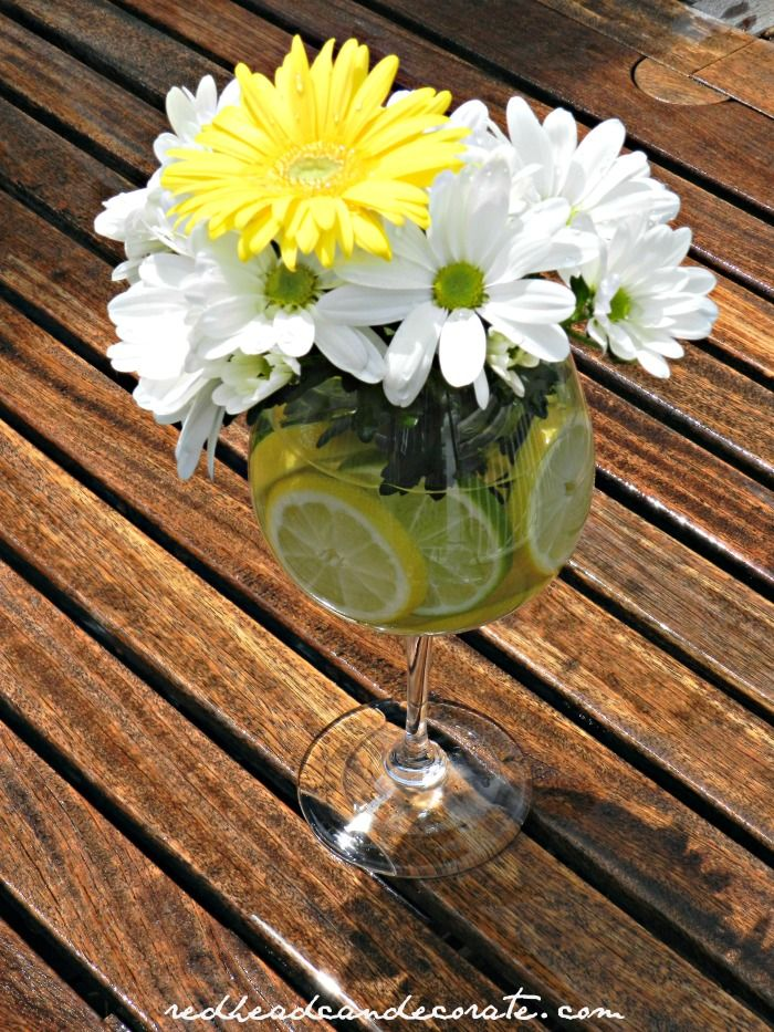 Lemon & Lime Daisy Arrangement + more Daisy Ideas from redheadcandecorate.com