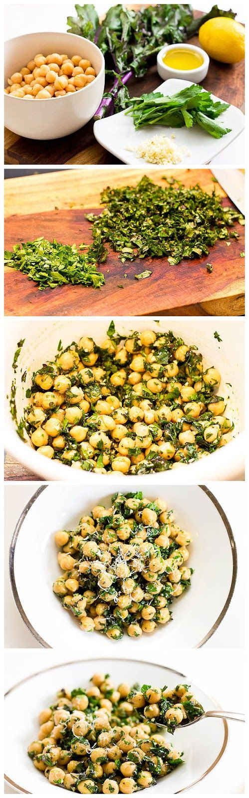 Ingredients: 1 can chickpeas, rinsed and drained 3-4 leaves kale, chopped 2 tablespoons fresh parsley, chopped 2 tablespoons olive oil 1 clove garlic, chopped 1 lemon, juiced salt and pepper, to taste pecorino romano or parmesan cheese, grated to taste. My dinner tonight!