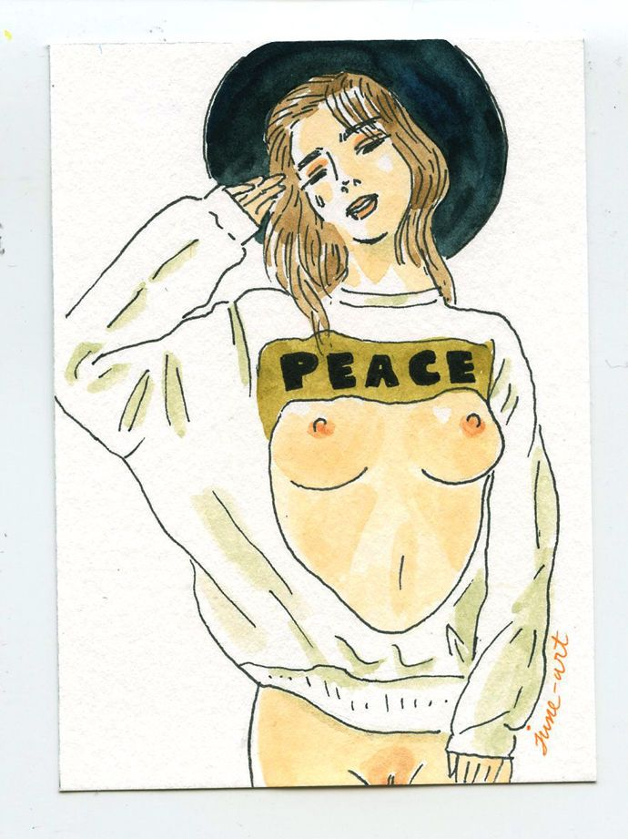 ACEO Peace on Earth. A girl / Original Art Painting / Female nude / pin up #IllustrationArt #aceo #nude #girl