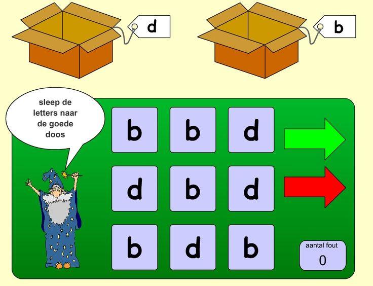Om te oefenen met letterherkenning. Sleep de letters naar de juiste doos.: