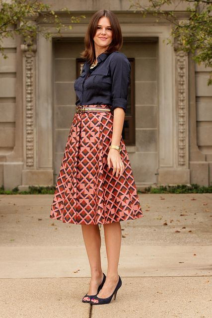 Vintage printed skirt via What I Wore