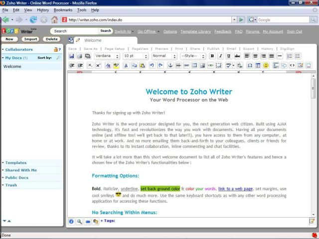 Free Online Word Processors: Zoho Writer