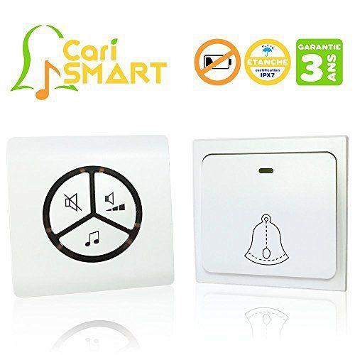 Sonnette sans fil sans pile étanche (IPX7) ✮ CariSmart ✮ le premier carillon sans pile écologique, longue portée et intelligent + ultra fin…