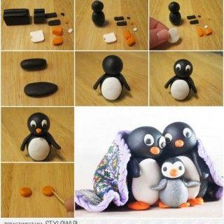 fimo-hamurundan-penguen-ailesi-yapmak