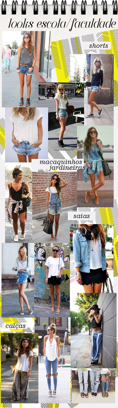 Looks para Escola ou Faculdade no Verão outfit school college what to wear summer