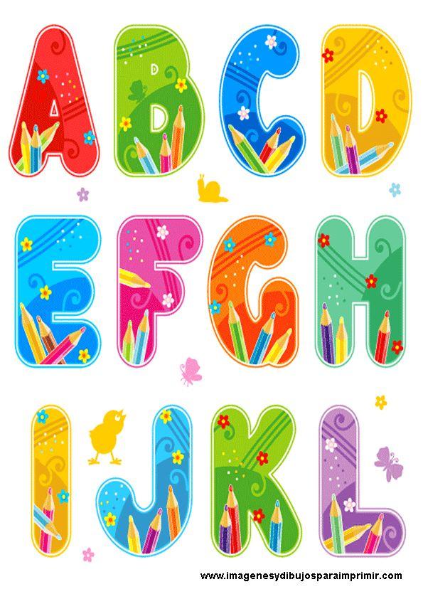 Abecedario escolar para imprimir , letras mayusculas de colores con detalles de lapices de colores para trabajos escolares. Un abecedario p...