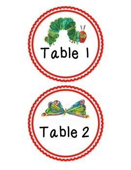 The Very Hungry Caterpillar Table Labels