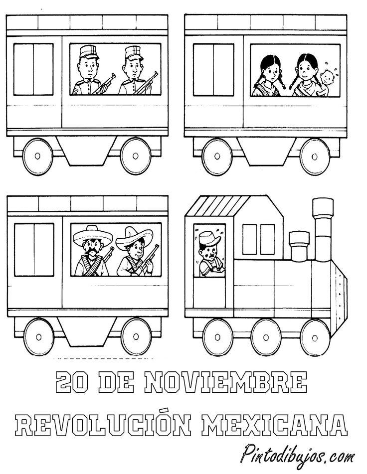 20 de noviembre para colorear | ferrocarril Revolución Mexicana para colorear