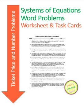 Systems of Equations - TICKETS! - Worksheet Assessment and