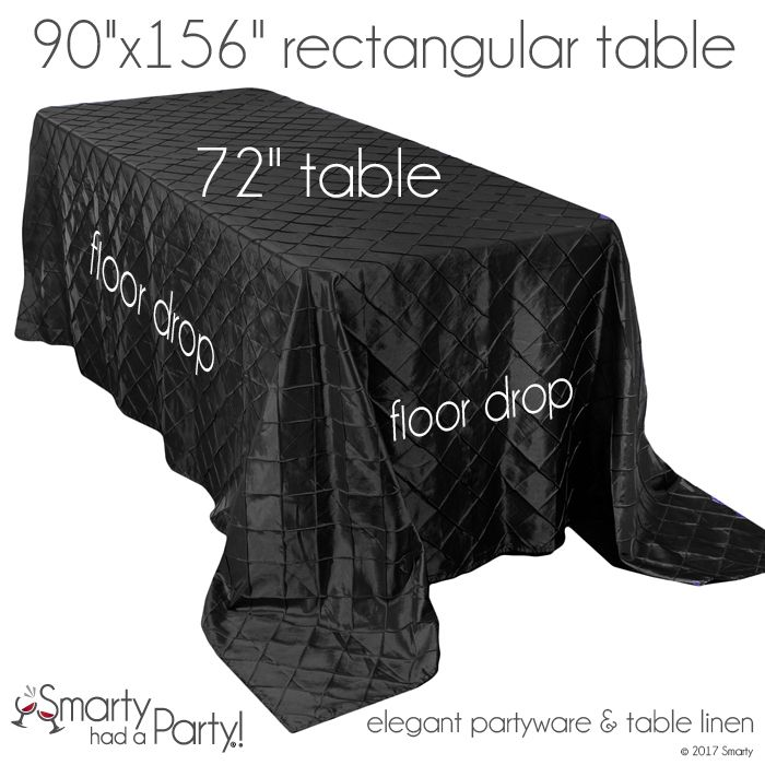 """A 90"""" x 156"""" tablecloth will fall to the floor on a 72"""" banquet table. View the entire tablecloth size guide for banquet tables here! #TableclothSizeGuide 
