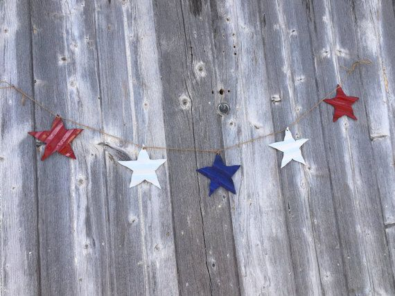 tin patriotic star banner, tin patriotic decor, tin stars, tin star banner, corrugated tin star banner, july 4th tin decor