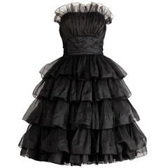 Rappi 1950s Vintage Strapless Black Silk Pleated Tiered Cocktail Dress