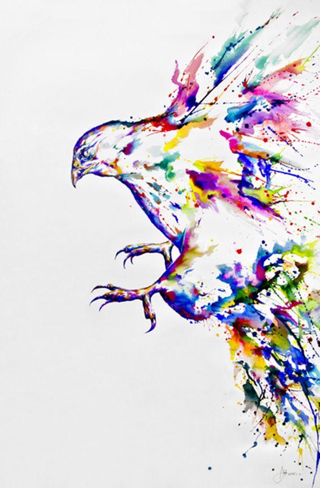 Color, tinta china y acuarela