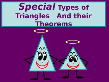 You will enjoy using this power point with your students!  The lesson includes some of the basic terminology used when referencing isosceles triangles, and you will also find that the lesson includes important relationships to look for and to be aware of when working with both isosceles triangles and equilateral triangles.