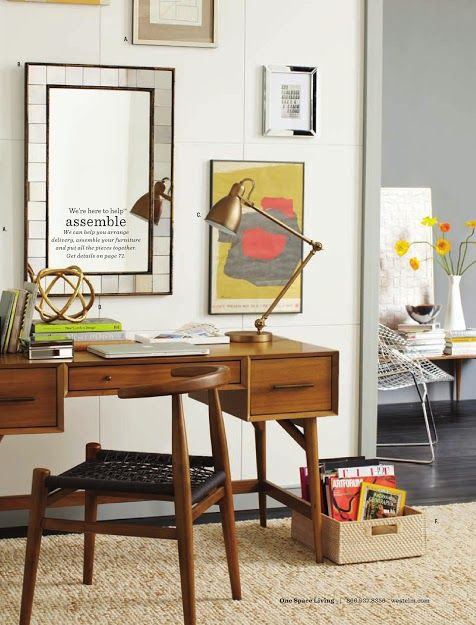 mid century modern inspired desk from west elm o f f i c e pinterest modern desk studios. Black Bedroom Furniture Sets. Home Design Ideas