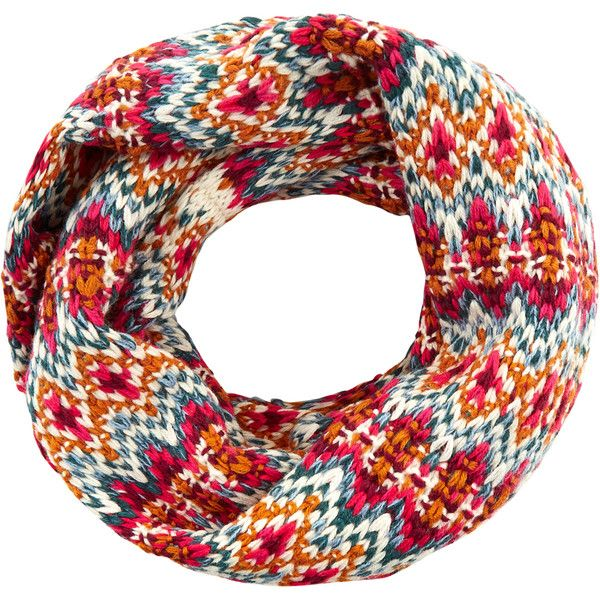 Accessorize Mabel Fairisle Snood ($37) ❤ liked on Polyvore featuring accessories, scarves, accessorize scarves and snood scarves
