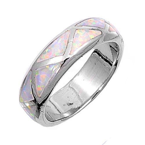 Handcast 925 Sterling Silver Band Ring with White Opal Inlay   museumreplicajewelry - Jewelry on ArtFire