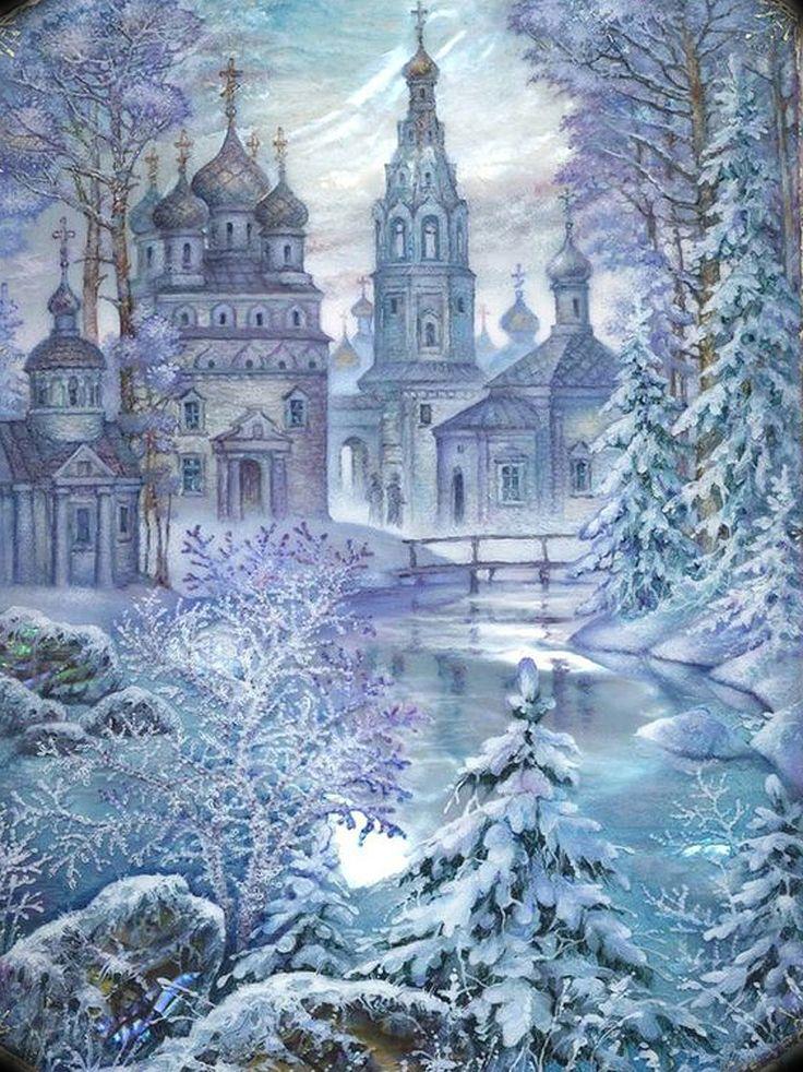 зимние пейзажи картинки декупаж занятия