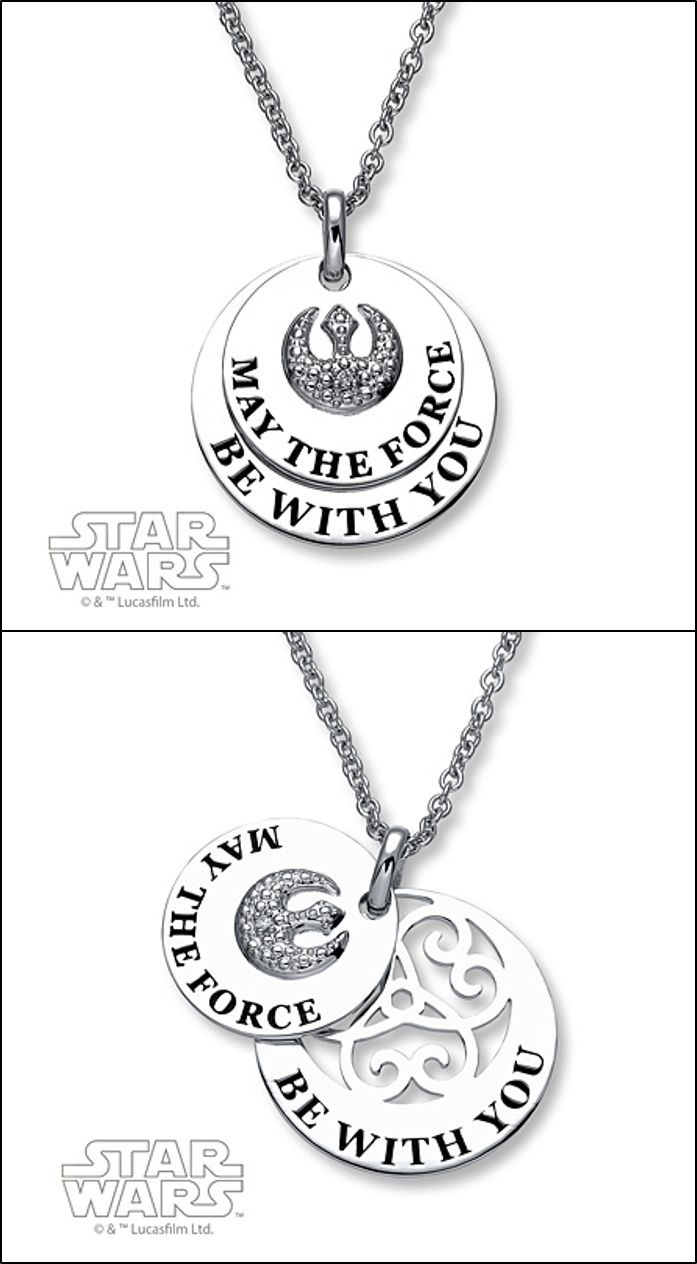 """You'll have all the luck you need when you wear this """"May the Force Be with You"""" Star Wars necklace."""