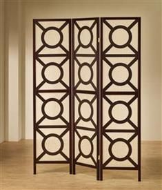 balance the proportions of your living room with the decorative geometric pattern of this wood folding screen featuring a circular design on each window