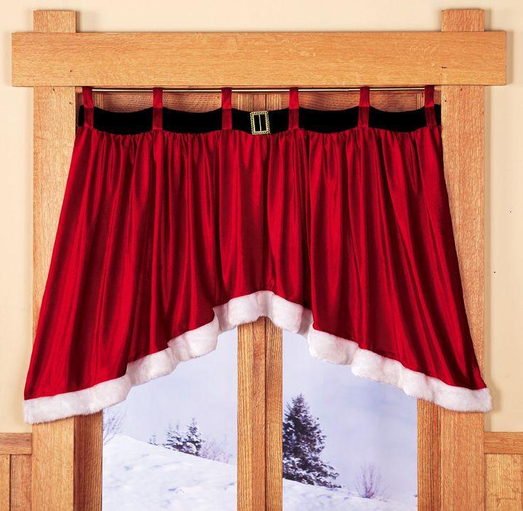 Velveteen Santa Belt Window Treatment Valance Christmas Holiday Decoration New | eBay