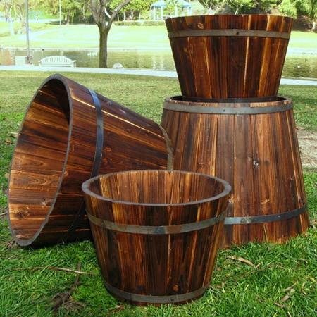 Four Piece Cedar Wood Barrel Set Finished With Rust 400 x 300