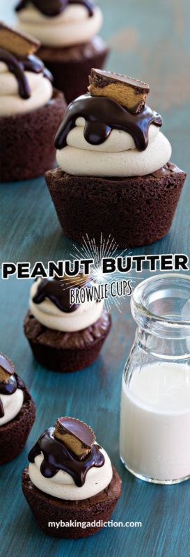 Peanut Butter Brownies Cups are topped with peanut butter buttercream and a chocolate glaze! So decadent!