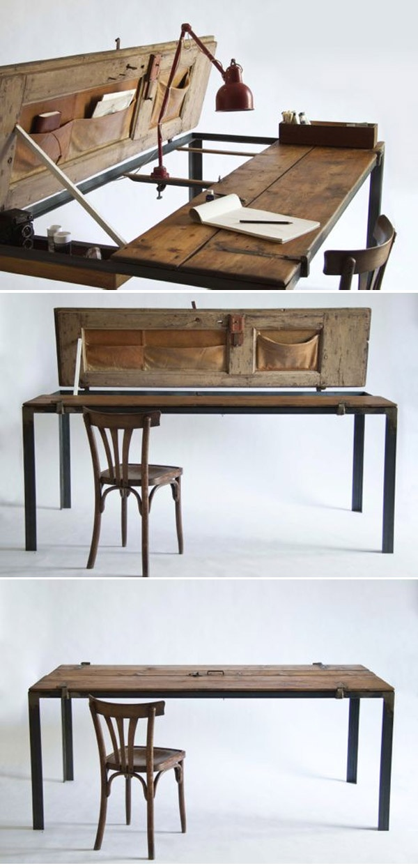 Repurposed :: Desk/Table - created from  vintage exterior doors ( http://www.flor.com/blog/manoteca-italian-handmade/ )