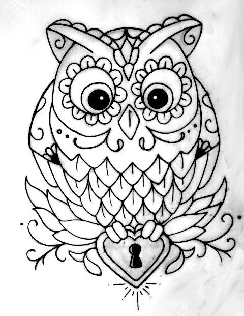 If I were to get an owl tattoo it would look something like this.  I would get it on my wrist and instead of a key-hole in the heart I would put paw print