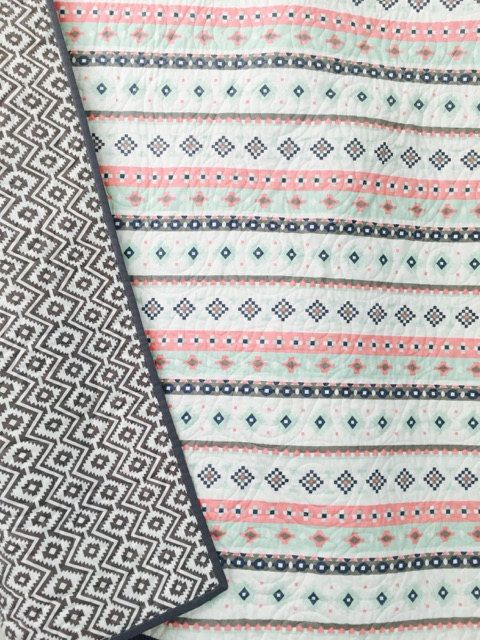 Aztec style Baby quilt boy quilt  girl quilt by TinRoofQuilters