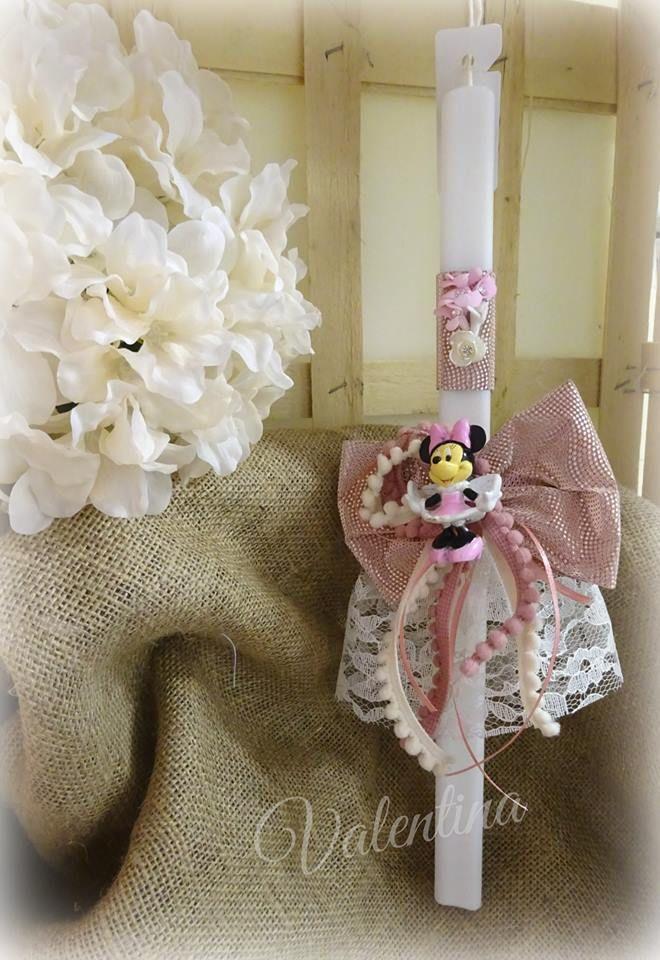 Πασχαλινή Λαμπάδα διακοσμημένη με την Minnie Mouse!