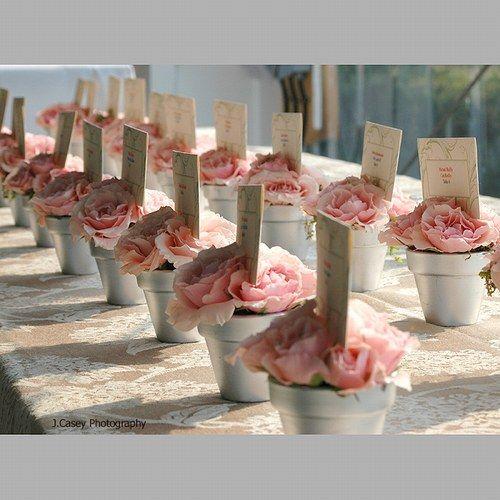 plan de table pots de roses