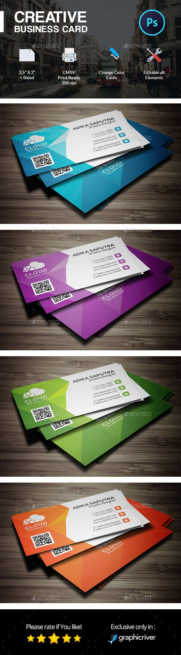 Polygonal Creative Business Card Template 75
