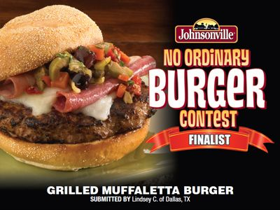 """""""Grilled Muffaletta Burger"""" made with Johnsonville Italian Sausage Patties by Lindsey C."""