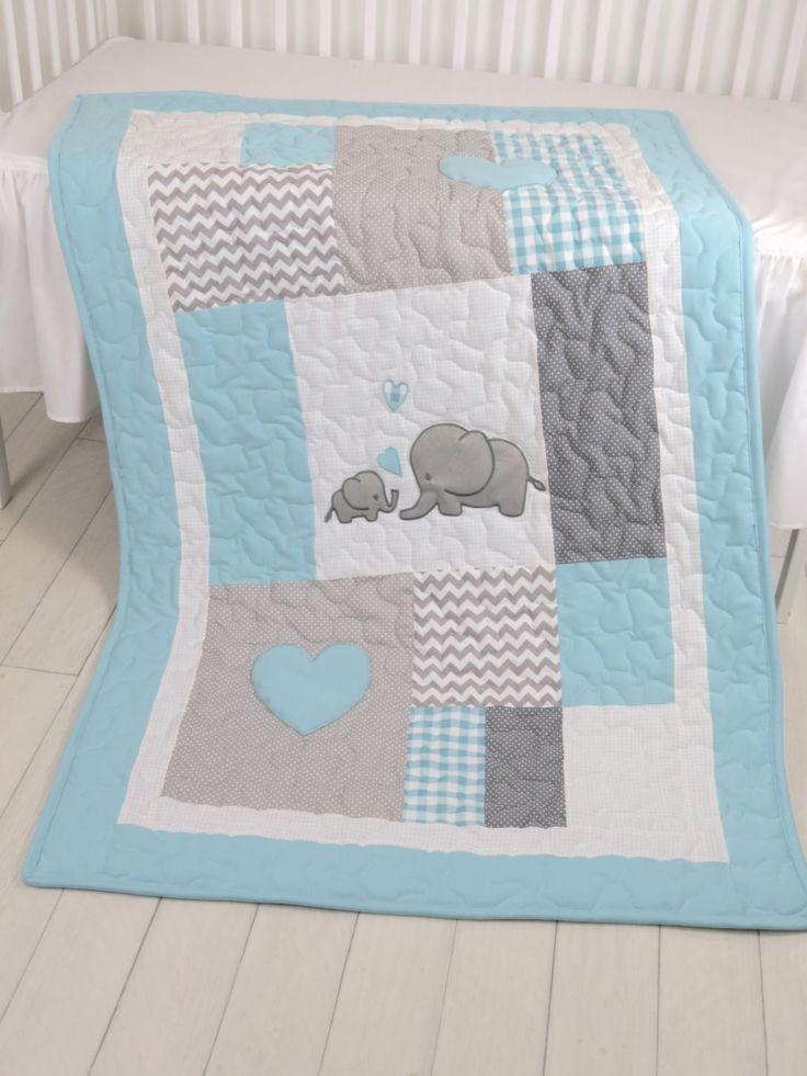 Aqua Gray Blanket, Elephant Quilt Blanket,  Chevron Baby Patchwork Blanket by Customquiltsbyeva on Etsy