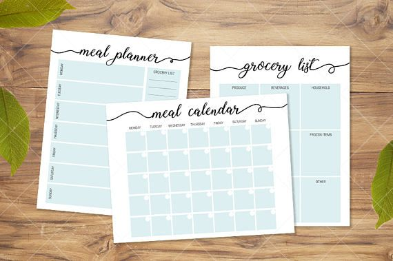 Printable grocery list, meal planner, and meal calendar.  Get organized and save money on groceries.  #ad  #budget  #kitchen