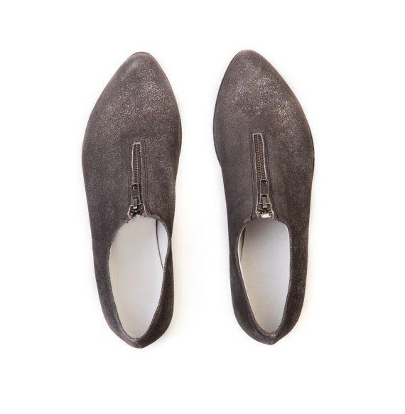Scarpe donna, scarpe argento Grangy, Pointed toe shoes, scarpe invernali in pelle, scarpe in pelle grigio