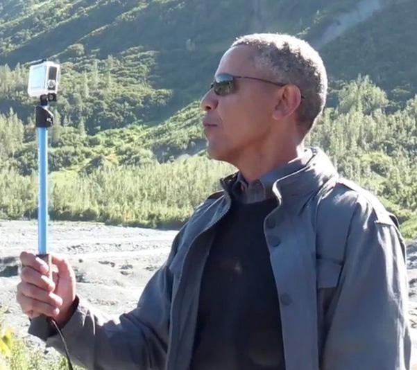 President Obama is wandering around Alaska with a selfie ...