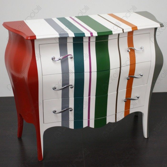 Comò Bombato a Righe Colorate - Pratelli Mobili #forniture #bedroom